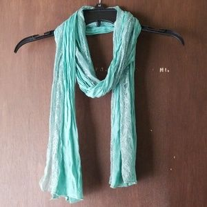Light green lightweight scarf with lace